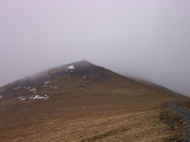 Skiddaw Lesser Man with Little Man lost in mist
