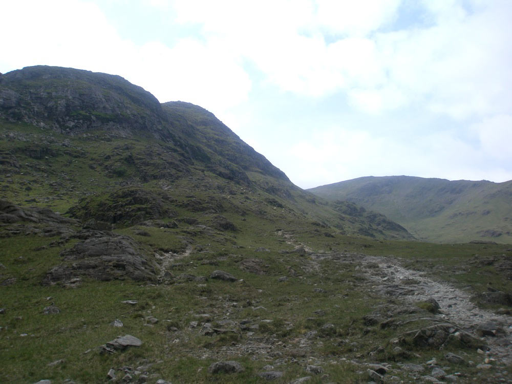 The path into Gillercomb with Seathwaite Fell to the left