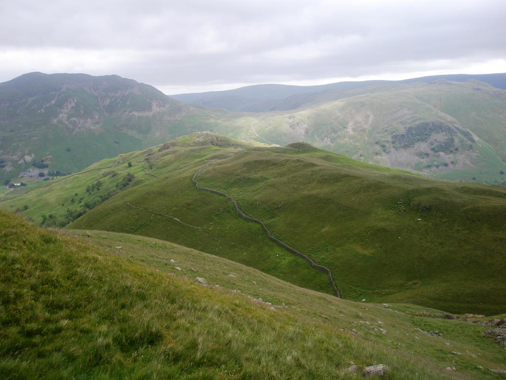 Looking back to Arnison Crag from the path up Birks