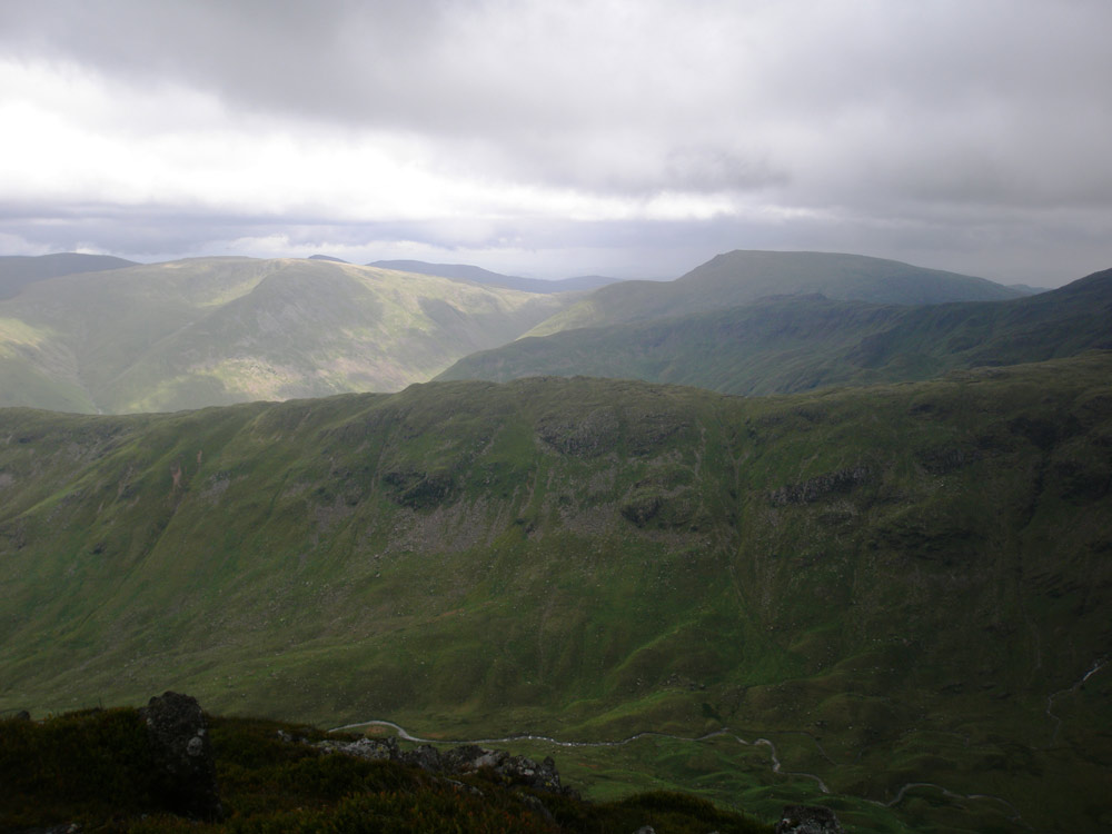 Looking over Hartsop above Howe towards Caudale Moor and Red Screes