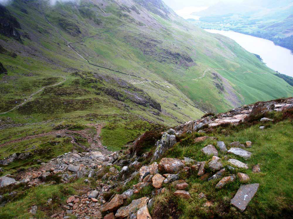 Looking back down the path to Haystacks