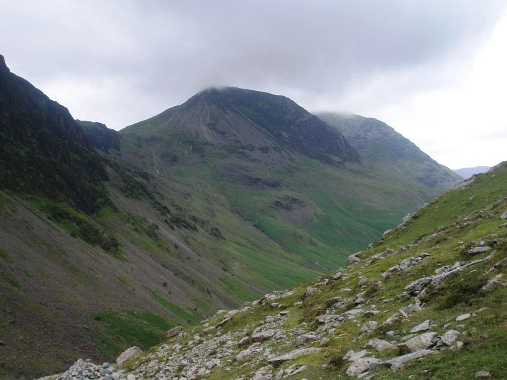 High Crag from the path along Warnscale Beck